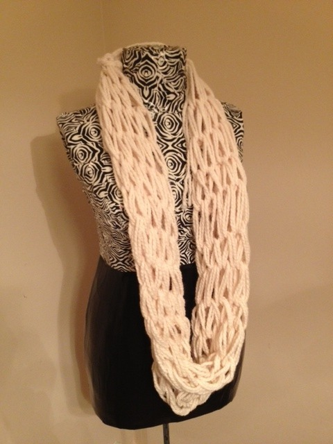 No Pattern Used Arm Knitting Infinity Scarf